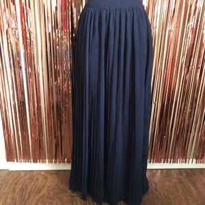 LC Lauren Conrad Navy Blue Pleated Maxi Skirt